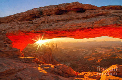 Photograph - Mesa Arch Painted by Sharon Seaward