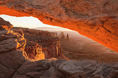 Landmarks Photograph - Mesa Arch Sunrise 5 - Canyonlands National Park - Moab Utah by Brian Harig