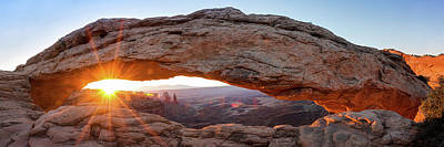 Photograph - Mesa Arch Sunrise Panorama - Canyonlands National Park by Gregory Ballos