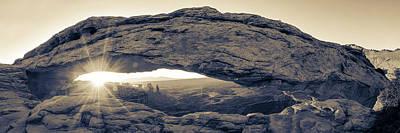 Photograph - Mesa Arch Sunrise Panorama - Canyonlands National Park - Sepia by Gregory Ballos