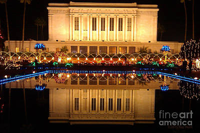 Photograph - Mesa Temple With Christmas Lights by Ray Hunt