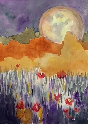 Painting - Mesas In Moonlight Abstract by Ellen Levinson