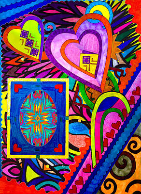 Painting - Meshed Up Hearts by Marie Jamieson
