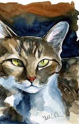 Painting - Mesmerizing Eyes - Tabby Cat Painting by Dora Hathazi Mendes