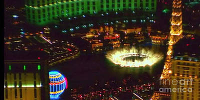 Photograph - Mesmerizing Fountains Show Water Falls Casino Towers Las Vegas Ugly Picture Is High Use Of Water Ele by Navin Joshi