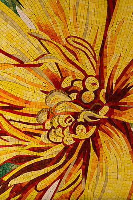 Photograph - Mesmerizing Golds And Yellows - A Floral Ceramic Tile Mosaic by Georgia Mizuleva
