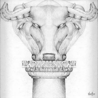 Drawing - Mesopotamian Capital by Curtiss Shaffer