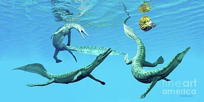 Aquatic Digital Art - Mesosaurus Marine Reptiles by Corey Ford