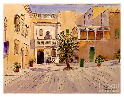 Painting - Mesquita Square Mdina by Godwin Cassar