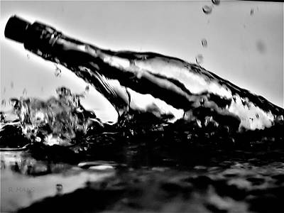 Photograph - Message In A Bottle In B W by Rob Hans