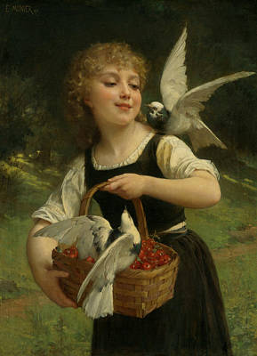 Realist Painting - Messenger Of Love by Emile Munier