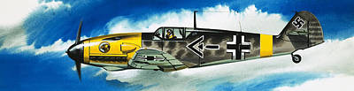Jet Painting - Messerschmitt Fighter by Wilf Hardy