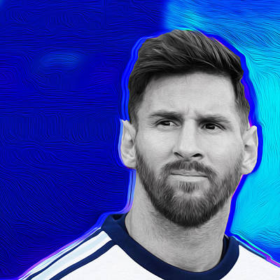 Messi Mixed Media - Messi Blue By Nixo by Nicholas Nixo