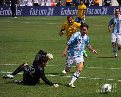Messi Breaking Ankles Art Print by Lee Dos Santos