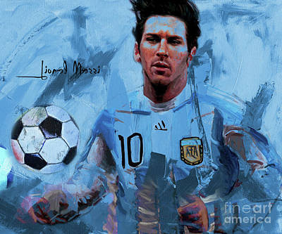 Painting - Messi Footballer  by Gull G