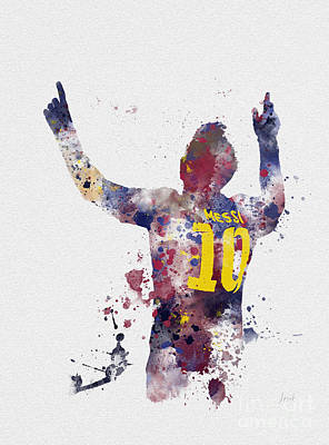 Watercolour Mixed Media - Messi by Rebecca Jenkins