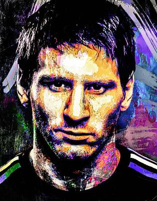 Mixed Media - Messi by Svelby Art