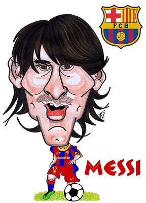 Messi Drawing - Messi by Tom Glover