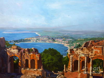 Sicily Painting - Messina Sicily The Teatro Greco by Donna Walsh