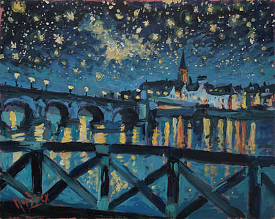 Painting - Mestreechter Staarenach Staryy Night Maastricht by Nop Briex