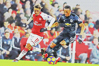 Digital Art - Mesut Ozil Vs Anthony Martial by Don Kuing