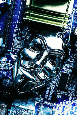 Computer Photograph - Metal Anonymous Mask On Motherboard by Jorgo Photography - Wall Art Gallery