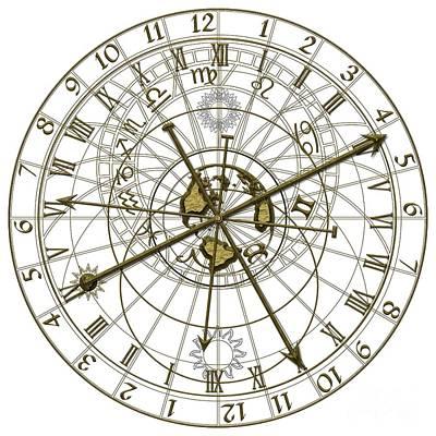Zodiac Digital Art - Metal Astronomical Clock by Michal Boubin