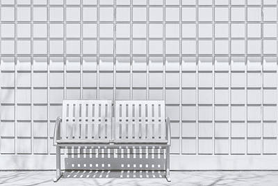 Metal Bench Against Concrete Squares Art Print