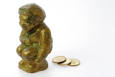 Metal Casting Of Young Boy Shitting Pennies Print by Reimar Gaertner