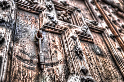 Photograph - Metal Door Knocker On A Heavy Relief Door by Semmick Photo