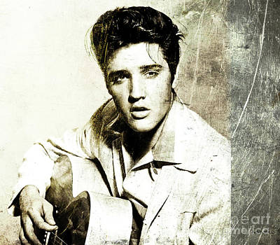 Mick Mixed Media - Metal Etching, The King, Elvis Presley by Thomas Pollart