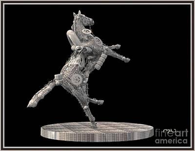 Statue Portrait Digital Art - Metal Horse 29mh1 by Pemaro