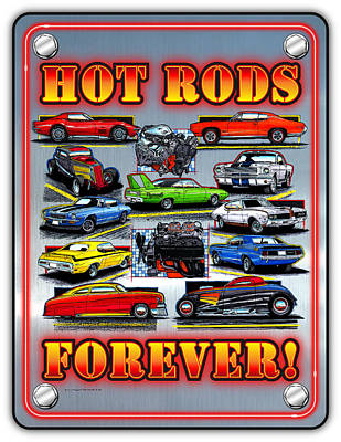 Digital Art - Metal Hot Rods Forever by K Scott Teeters