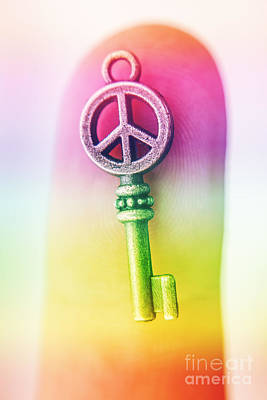 Photograph - Metal Key With Peace Sign by Jorgo Photography - Wall Art Gallery