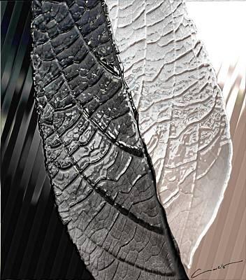 Digital Art - Metal Leaf In Black And White by Michael Hurwitz