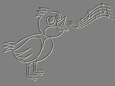 Croon Digital Art - Metal Relief Singing Bird by Miroslav Nemecek