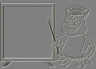 Diploma Digital Art - Metal Relief Wise Owl Teacher by Miroslav Nemecek