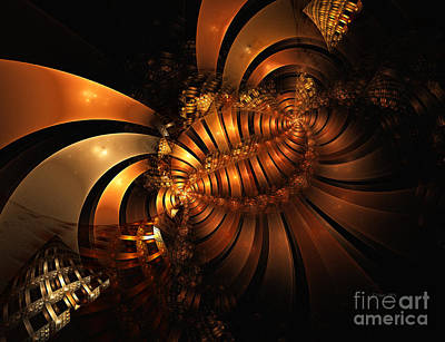 Digital Art - Metal Ribbons Golden Flow by Shari Nees