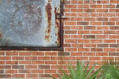 Photograph - Metal, Rust And Brick by Russell Owens