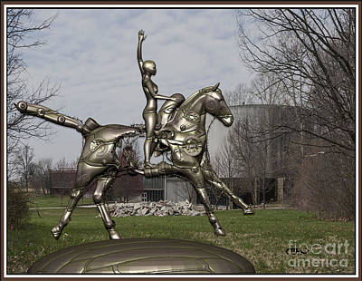 Statue Portrait Digital Art - Metal Sculpture Of A Young Equestrienne 9 by Pemaro