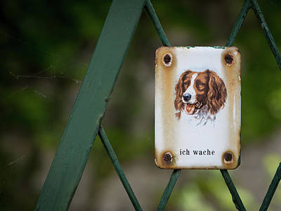 Rights Managed Images - Metal sign with dog saying  Royalty-Free Image by Stefan Rotter