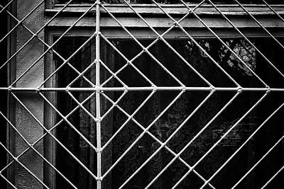 Photograph - Metal Spider Web Windowframe In Monochrome by John Williams