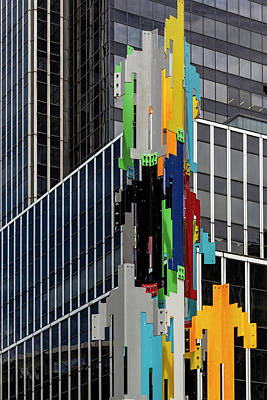 Photograph - Metal Statue And Office Building Herald Square Nyc by Robert Ullmann