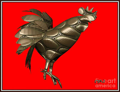 Stained Glass Rooster Digital Art - Metal Statuette Rooster  1msr by Pemaro