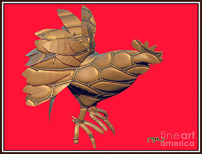 Stained Glass Rooster Digital Art - Metal Statuette Rooster  5msr by Pemaro