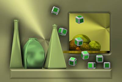 Composition Digital Art - Metalic Still Life With Cubes Flying by Alberto RuiZ