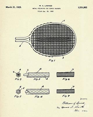 Racket Painting - Metal Stringing For Tennis Racket-1925 by Pablo Romero