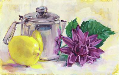 Teapot Painting - Metal Teapot, Lemon And Flower by Dina Kalo