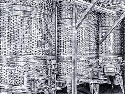 Photograph - Metal Wine Barrels by Robin Zygelman