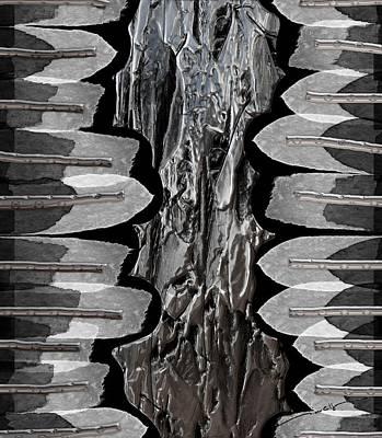 Digital Art - Metallic Angel Feathers by Michael Hurwitz